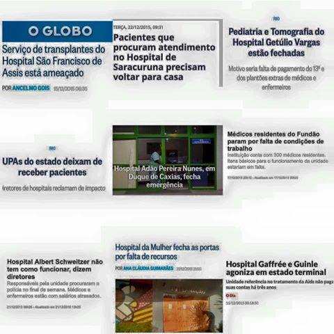 Clipping das Notícias Sobre o Caos na Saúde do Rio de Janeiro